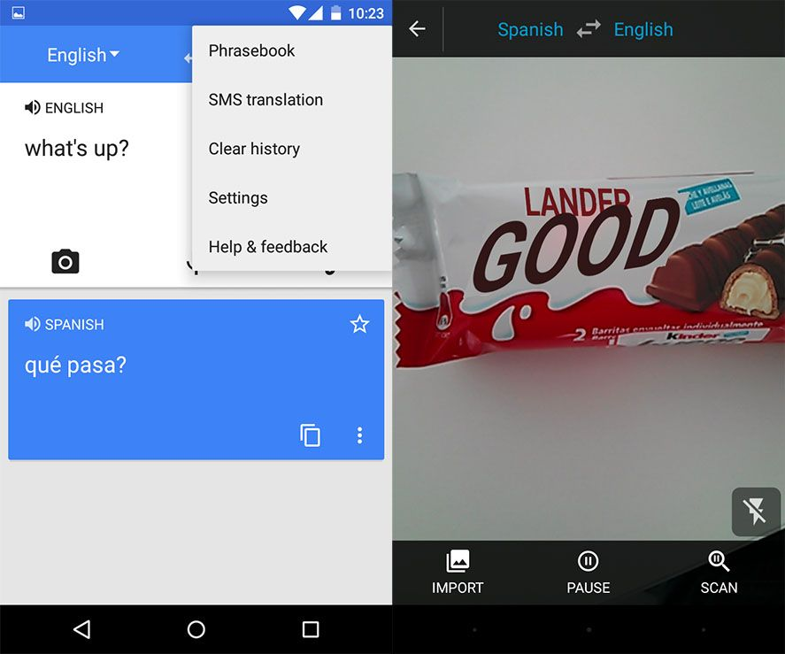Google Translate Android screenshot