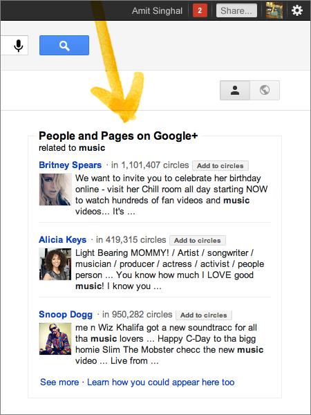 14 music Google integra Google+ en su buscador