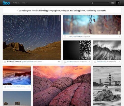 500px flow Flickr y 500px estrenan nuevo look
