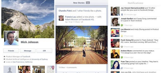 Facebook Android actualizacion cabecera Facebook's new app is now available for Android and iOS