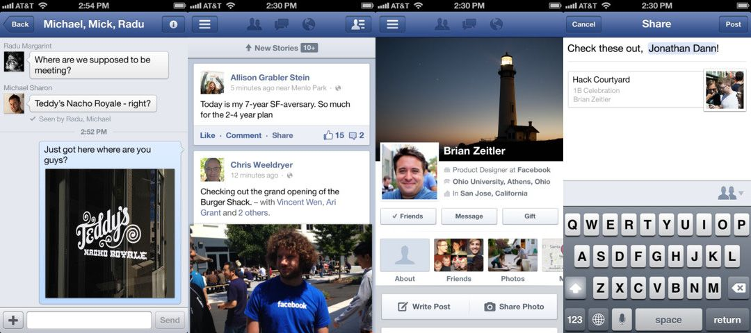 Facebook iOS actualizacion Facebook's new app is now available for Android and iOS