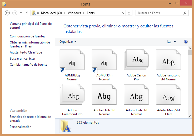 Fuentes Windows