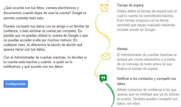 Google control cuentas inactivas