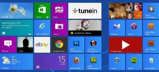 Metro menu principal Windows 8 incluye publicidad en algunas de sus aplicaciones preinstaladas
