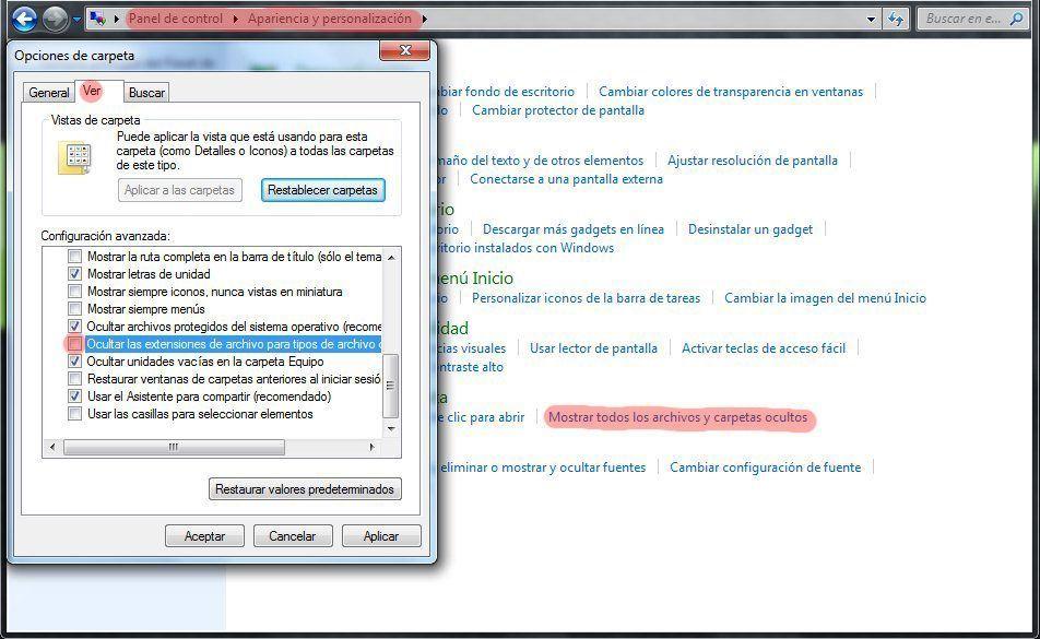 Mostrar extensión archivos Windows