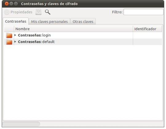 Pantallazo Contraseñas y claves de cifrado Evitar introducir la contraseña de administrador al abrir Chromium en Ubuntu