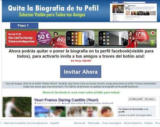 Quitar la Biografía de mi Perfil, un engaño para acceder a los datos de los usuarios de Facebook