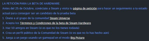 Steam Machines participar beta