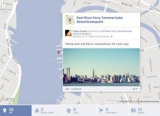 TimelineMap Foursquare permite compartir tus check-ins en Facebook