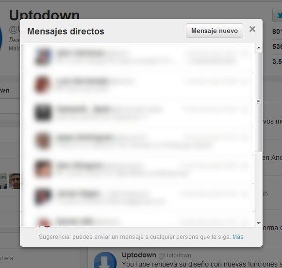Uptodown uptodown en Twitter Google Chrome 2011 12 12 14 08 39 ¿Dónde están los mensajes privados en el nuevo Twitter?