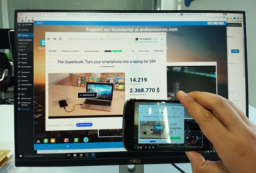 Andromium OS funcionando en un monitor externo