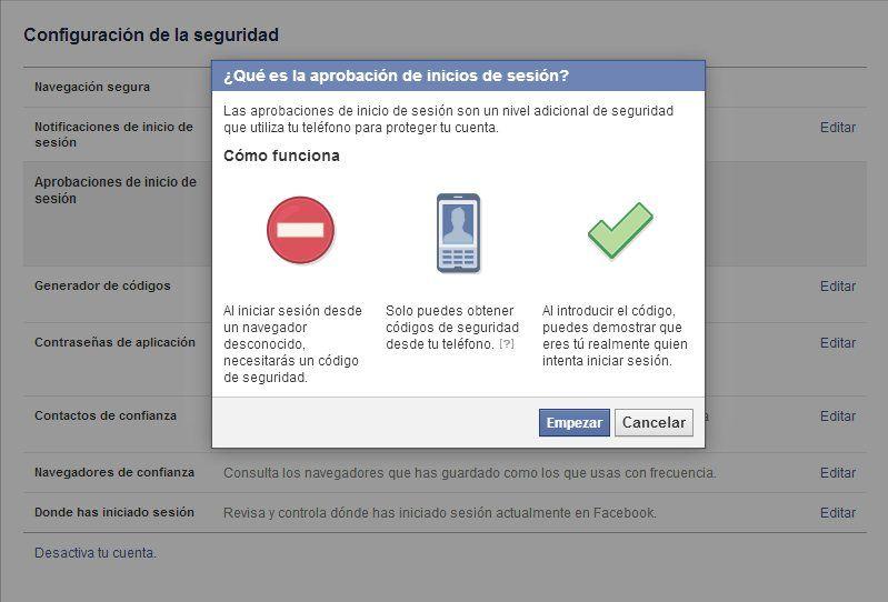 aprobacion inicio sesion facebook