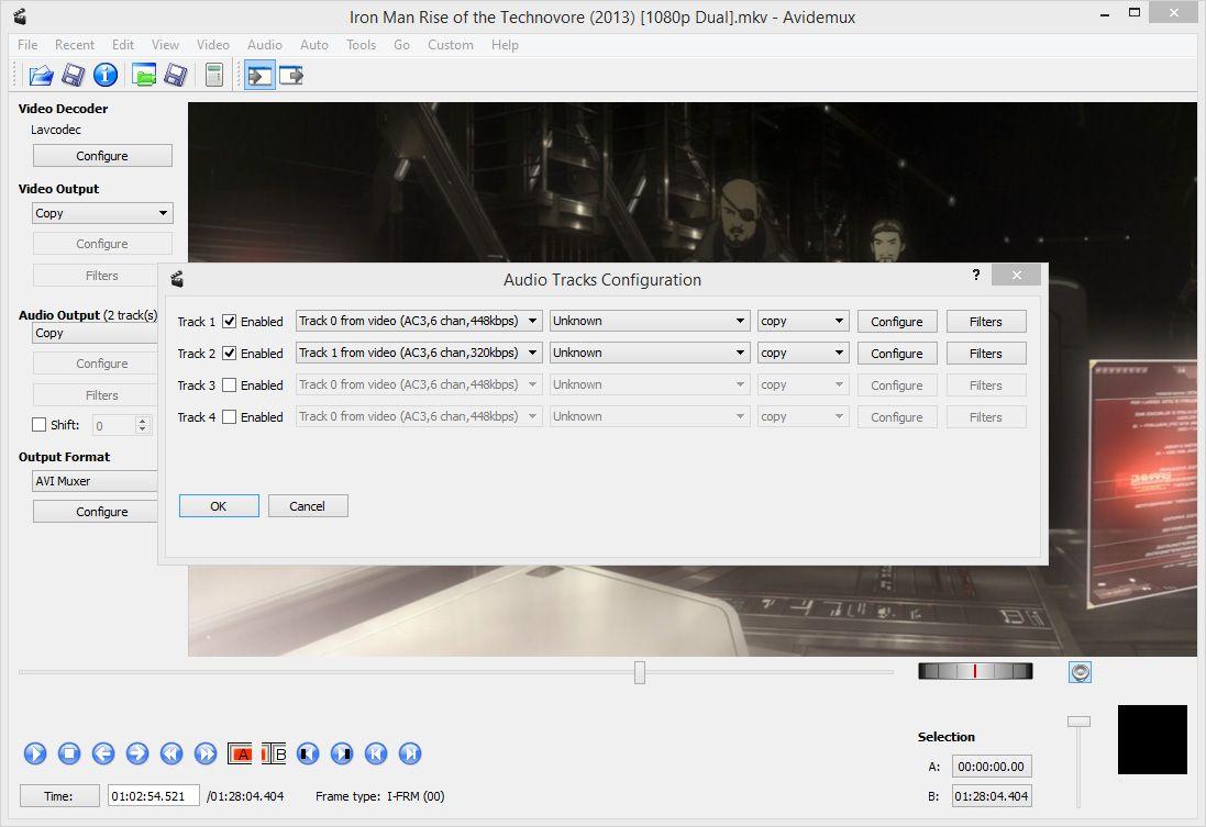 Options output avidemux format