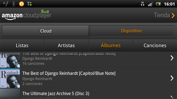 captura amazon cloud player Apps Android para escuchar música en la nube