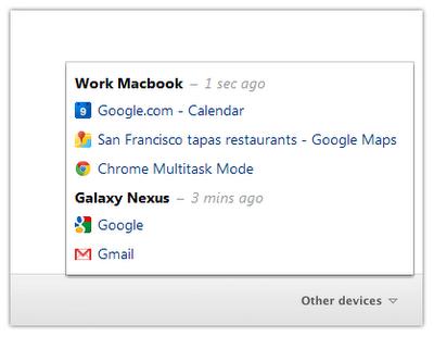 chrome other devices menu Google Chrome permite sincronización de pestañas