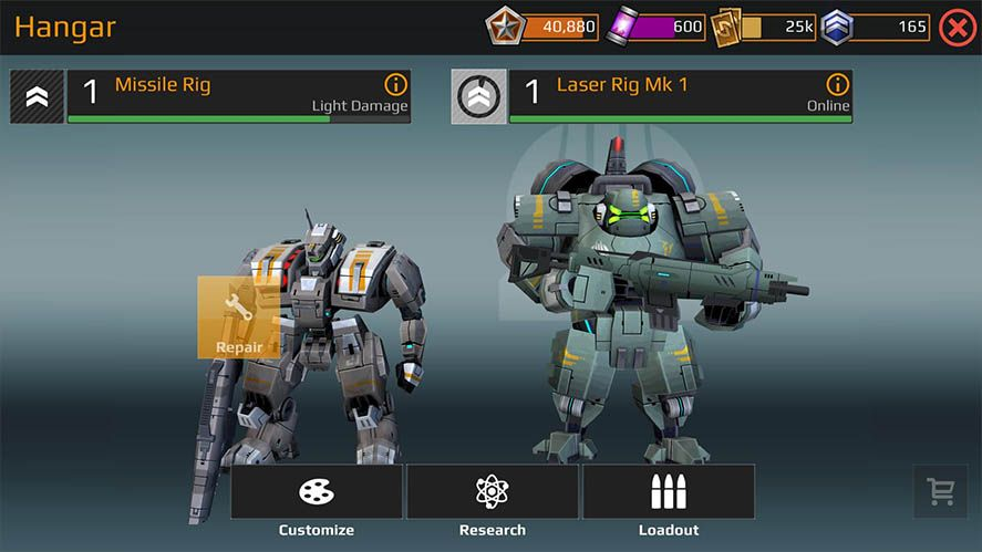 Dawn of Steel Android Hangar