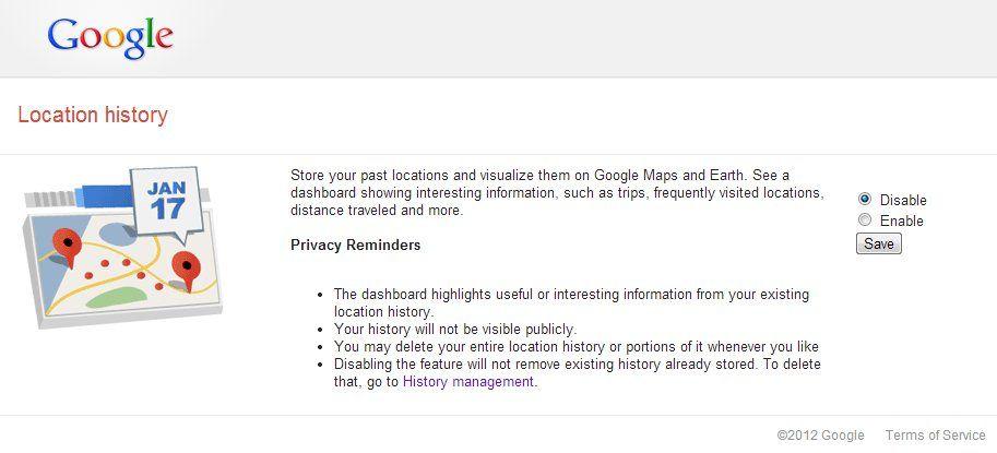 desactivar location history