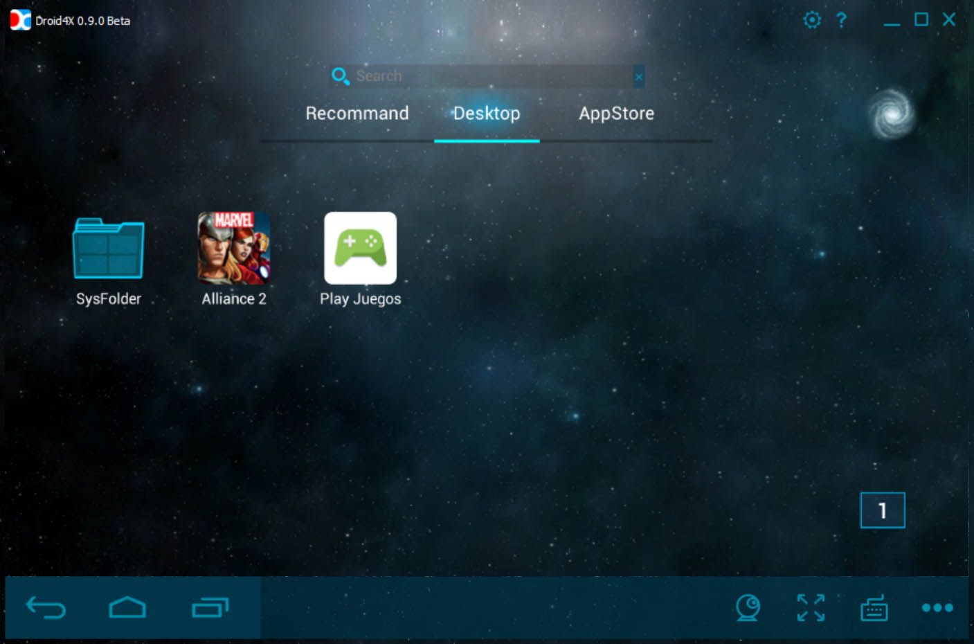 Droid4x main menu