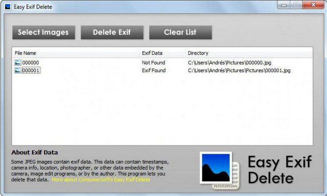 easy exif delete
