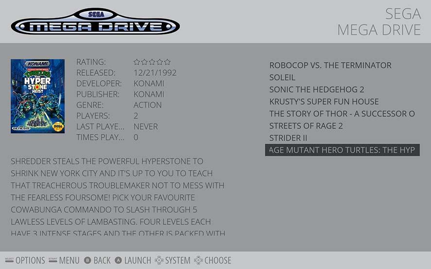 Emulation Station list of games sega mega drive