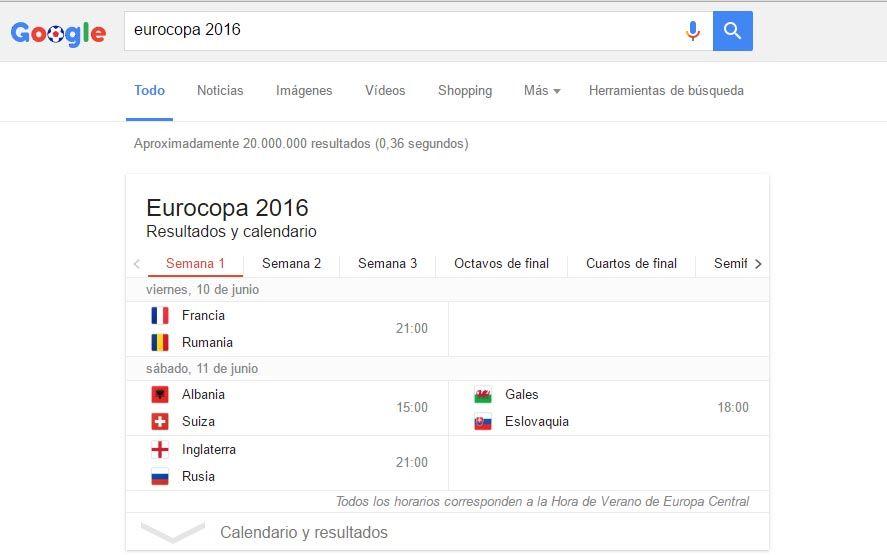 Eurocopa 2016 Google