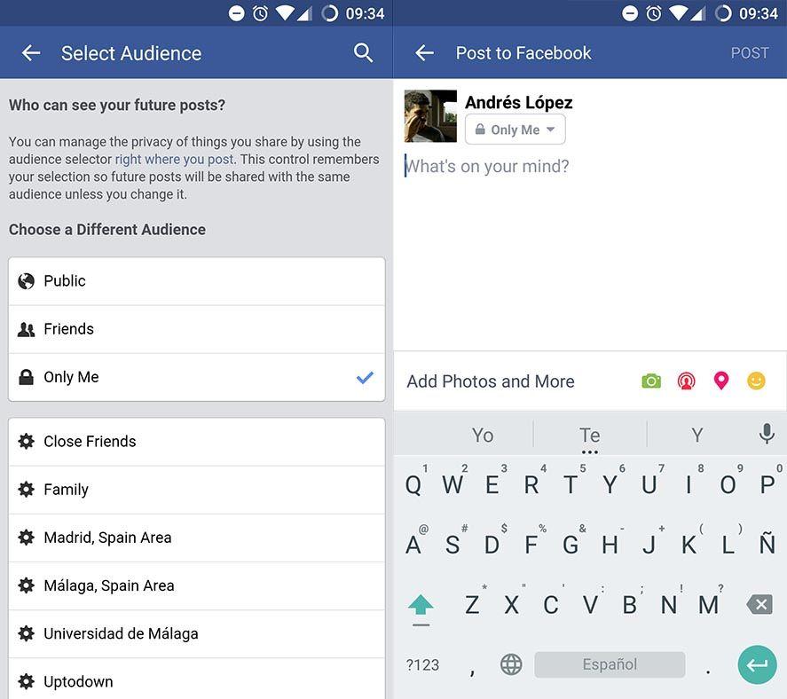 Configurar privacidad en Facebook para Android