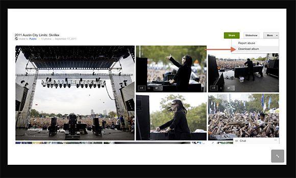 google albumes Google+ permite la vista de diapositivas y la descarga de los albumes de fotos