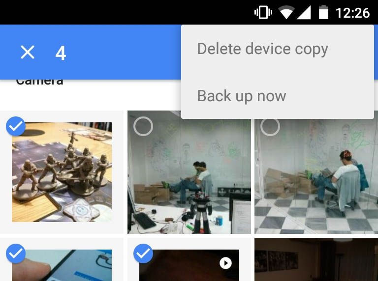 Google Photos Back up now