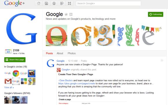google plus page Google+ se abre al mundo corporativo
