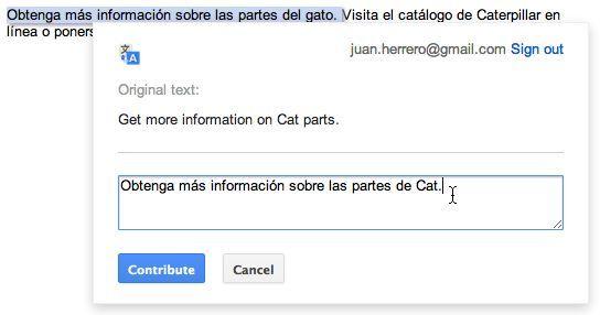 googletranslate Google Translate permite editar las traducciones para mejorarlas