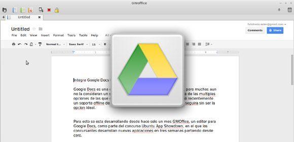 gwoffice feat Integra Google Docs en Ubuntu con GWOffice