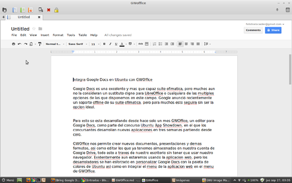 gwoffice Integra Google Docs en Ubuntu con GWOffice