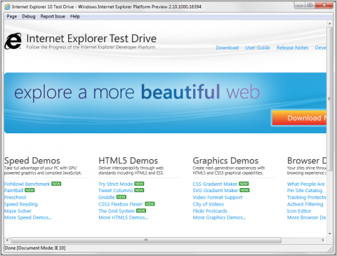 ie10 preview Internet Explorer mejora su soporte para HTML5