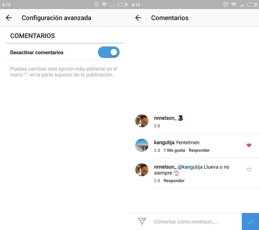 Instagram cerrar comentarios
