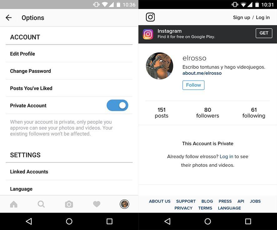 Ajustar privacidad en Instagram