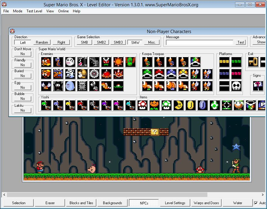 SMBX, the Super Mario Bros level editor for Windows