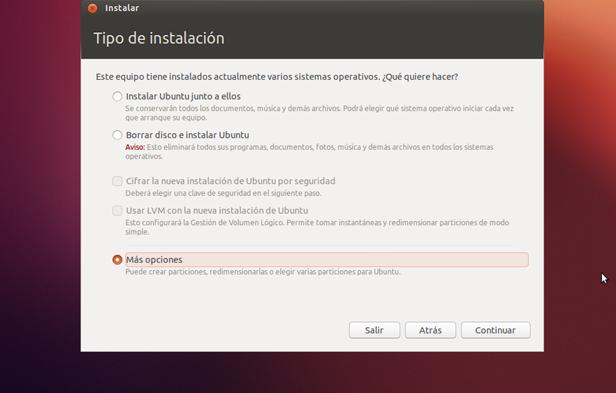 mas opciones Guía para instalar Windows 7 y Ubuntu en un mismo PC