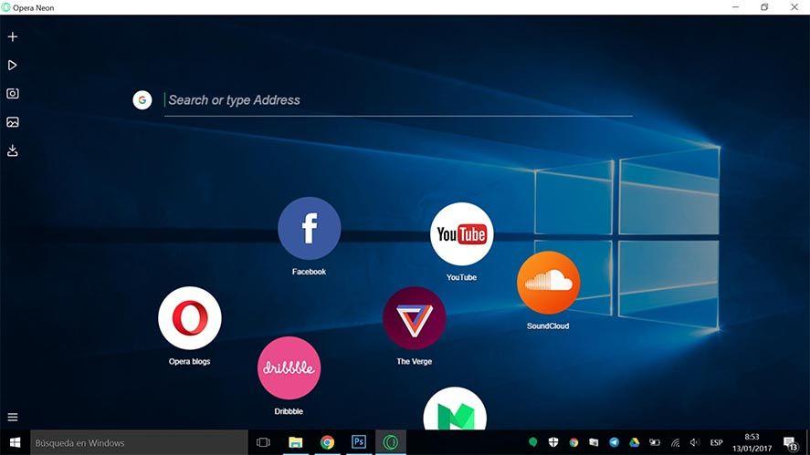 opera neon screenshot 1 Opera lanza Neon, su nuevo navegador de escritorio