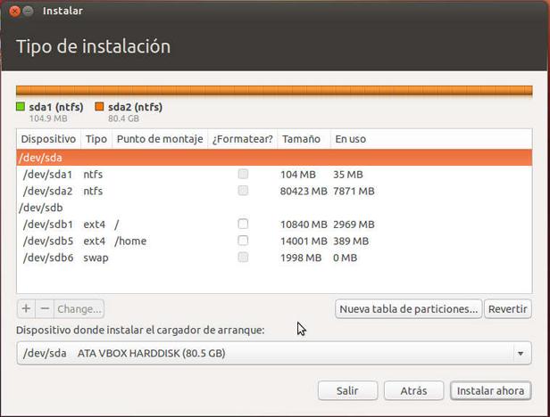 particiones ubuntu Guía para instalar Windows 7 y Ubuntu en un mismo PC