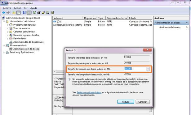 reducir particion Guía para instalar Windows 7 y Ubuntu en un mismo PC