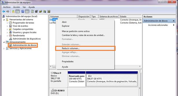 reducir volumen Guía para instalar Windows 7 y Ubuntu en un mismo PC