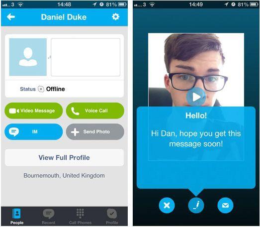 skype mensajes de vídeo desconectado