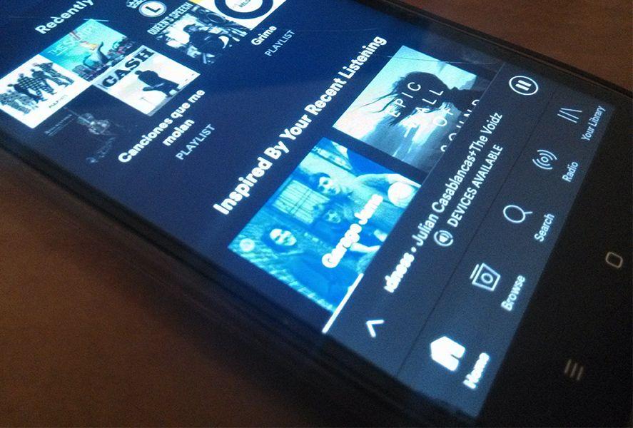 Spotify barra navegación