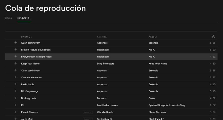 Spotify Historial