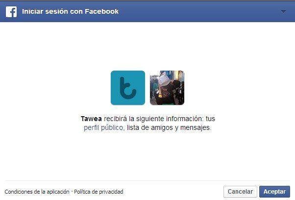 tawea permisos facebook