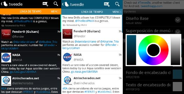 tweedle opciones Tweedle, un personalizable y diferente cliente de Twitter para Android