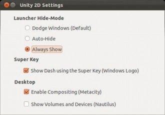 unity 2d settings Hacer que el launcher de Unity 2D esté siempre visible