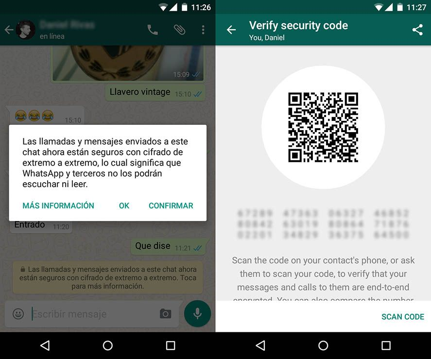 WhatsApp cifrado aviso