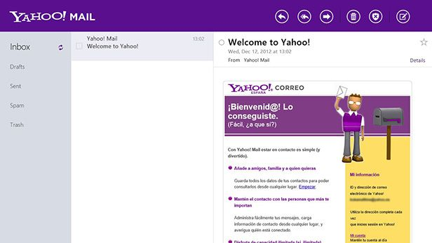 El aspecto de Yahoo! Mail en Windows 8