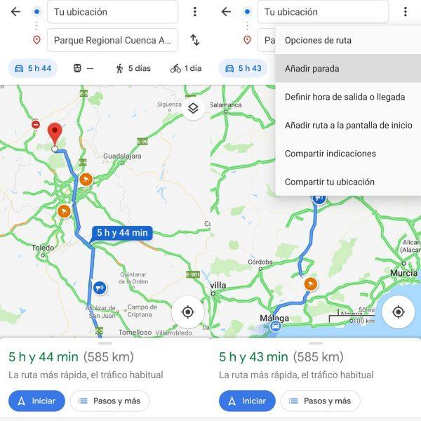 Añadir paradas en Google Maps